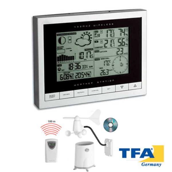 Estacion meteorologica interior y exterior con reloj y luz SINUS 35.1095