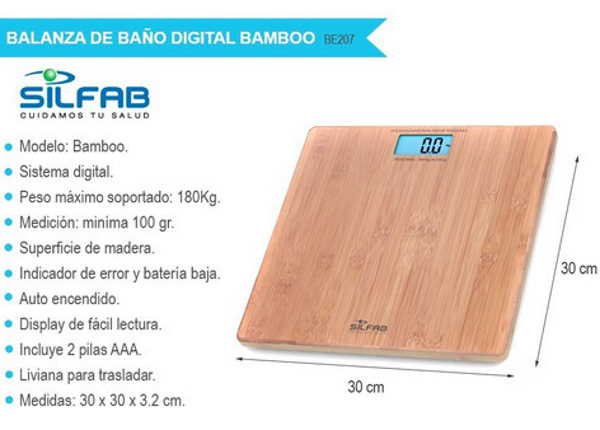 Balanza Digital Personal Bamboo Be207 Silfab